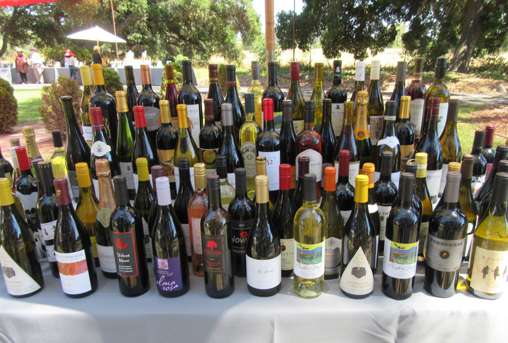 A table of wine up for bid during the silent auction.