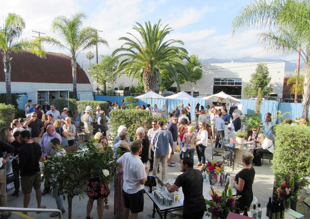 A view of the post-tour reception in the Cabana Home courtyard in the Funk Zone.