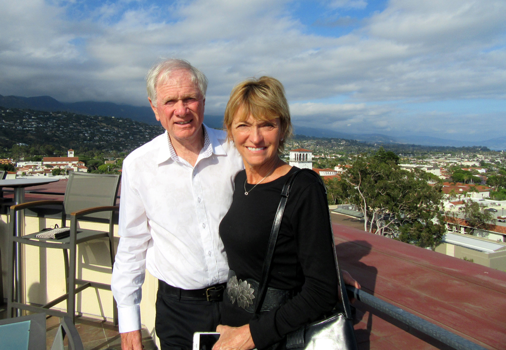 Arthur and Paulette Posch enjoy the panoramic view from the Granada penthouse.