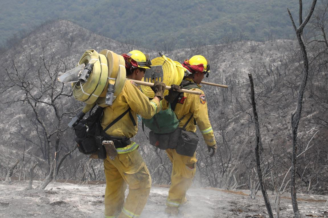 A Cal Fire crew hauls hose lines to support hand crews and douse hot spots in the Alamo Fire Monday.