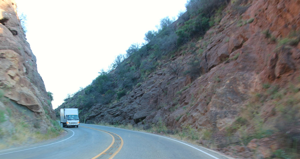 A distinctive road cut in the area of Windy Gap on Highway 154.