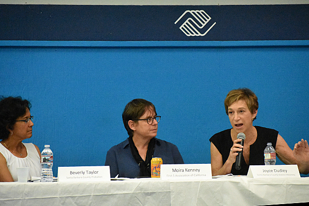 District Attorney Joyce Dudley speaks about youth violence during a forum Monday night in Santa Maria with fellow panelists Chief Probation Officer Bev Taylor, left, and Moira Kenney, First 5 Association of California executire director.