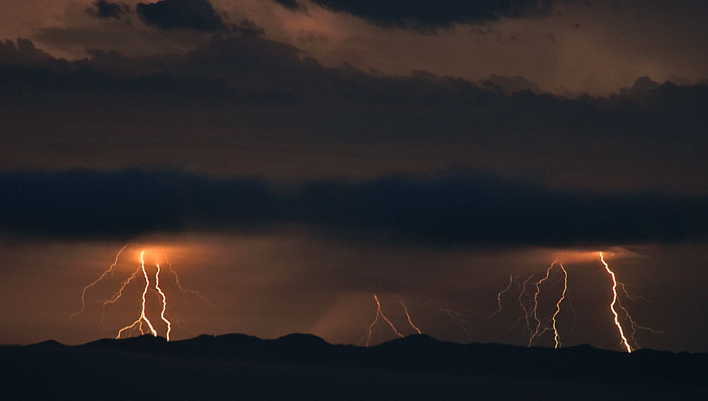 Lightning above the Santa Barbara Channel on Sunday night.