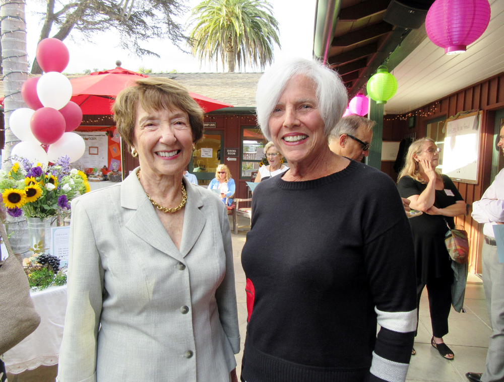 Big Heart Award recipients Zelda Gold, left, and Sue Adams at Friendship Center's seventh annual Wine Down event Thursday at its Montecito campus.