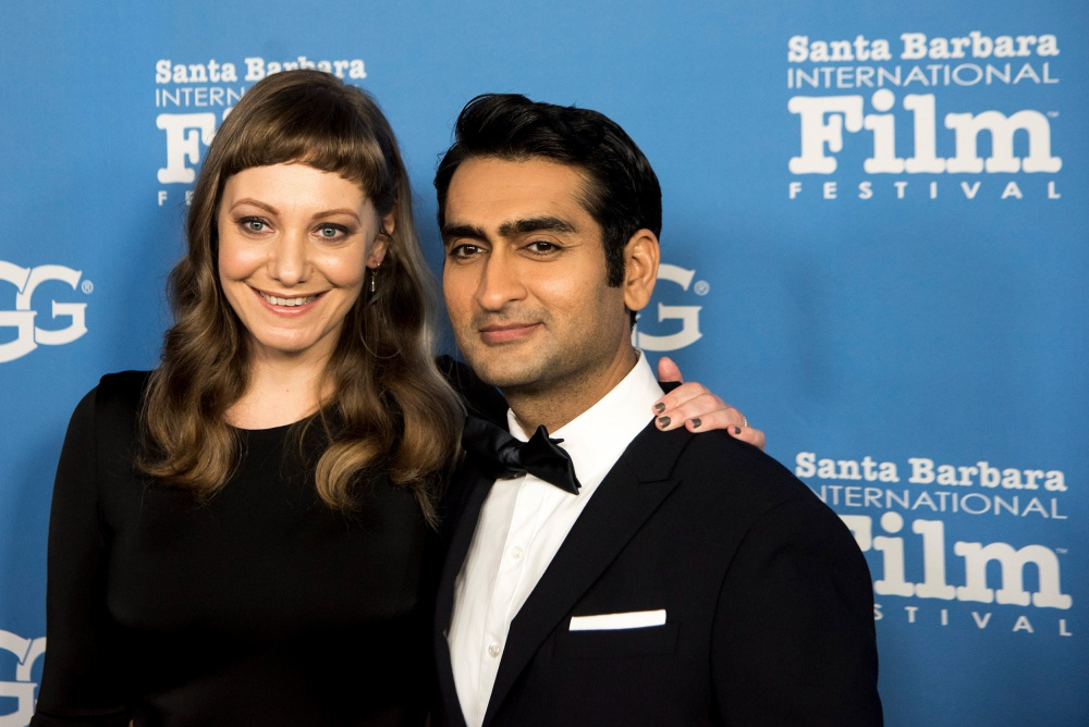 Kumail Nanjiani and his wife, Emily V. Gordon, at the Santa Barbara International Film Festival, which honored Nanjiani with a Virtuosos Award on Saturday. Nanjiani and Gordon co-wrote the hit romantic comedy, The Big Sick, in which Nanjiani also starred.