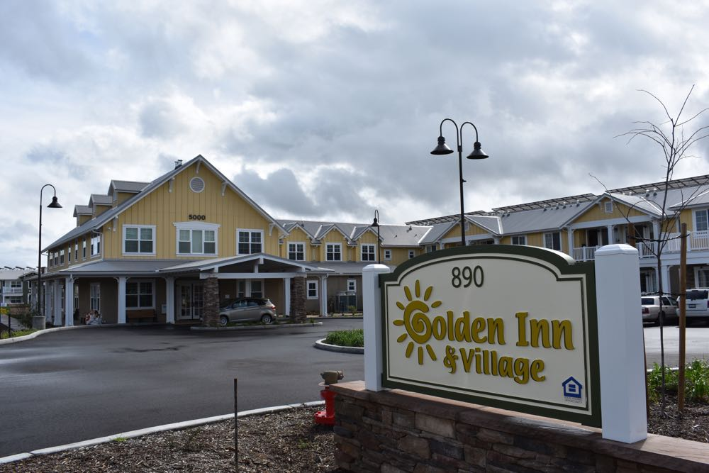 Golden Inn & Village, at the corner of Highway 246 and Refugio Road in Santa Ynez, features 60 independent living units for low-income seniors and 27 affordable rental apartments for multigenerational housing.