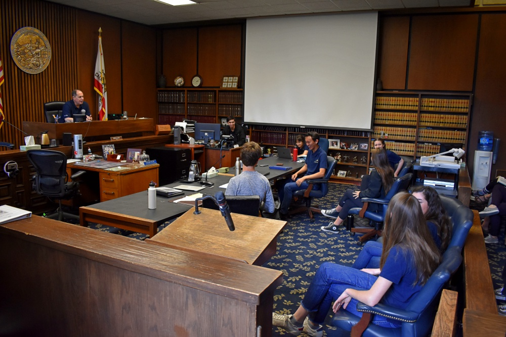 The Dos Pueblos High mock trial team took over Department Four of the Santa Barbara County Superior Court for Sunday's practice for the state championship this week.