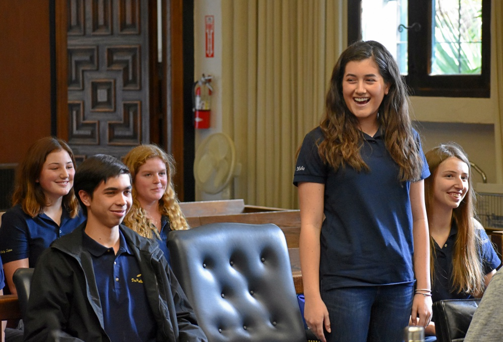 Dos Pueblos High mock trial team member Paige Maho speaks Sunday during practice for this week's state championship.