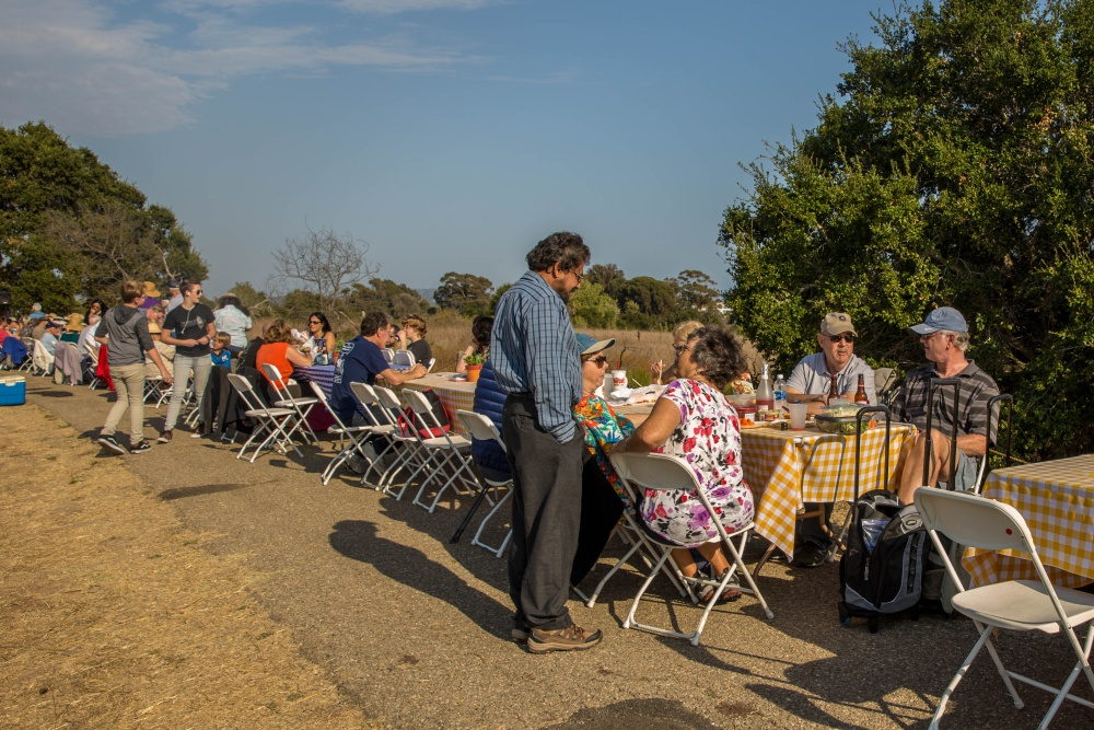 A long row of tables set the stage for the fifth annual Goleta Dam Dinner at Lake Los Carneros.