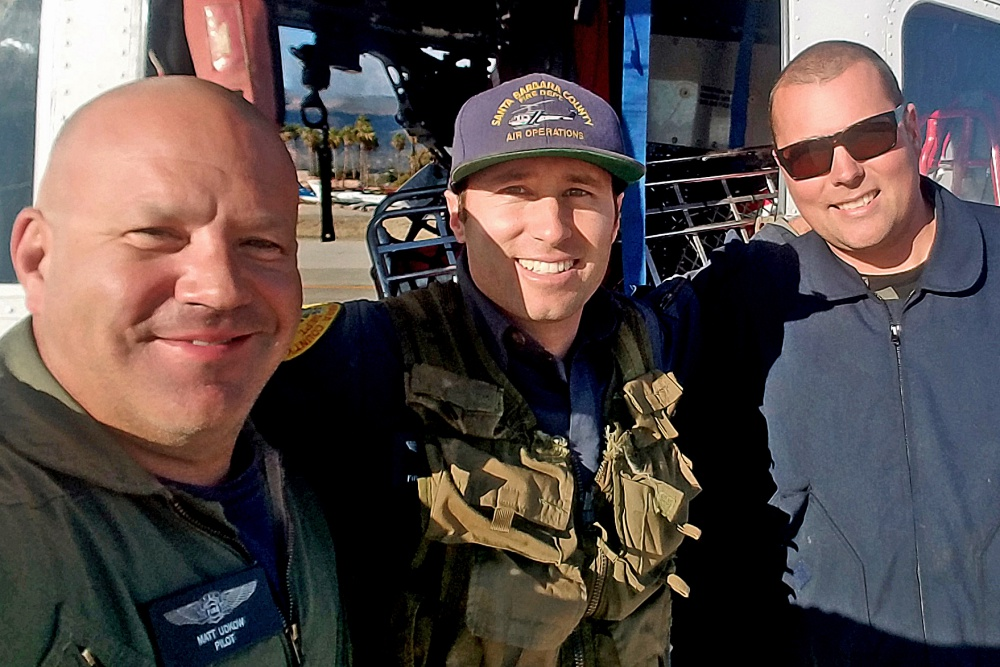 From left, Santa Barbara County Air Support Unit Copter 308 pilot Matt Udkow and county firefighters Bryce Wible and Glen Dupont conducted six rescues in Montecito on Jan. 9, including one without consistent radio contact.