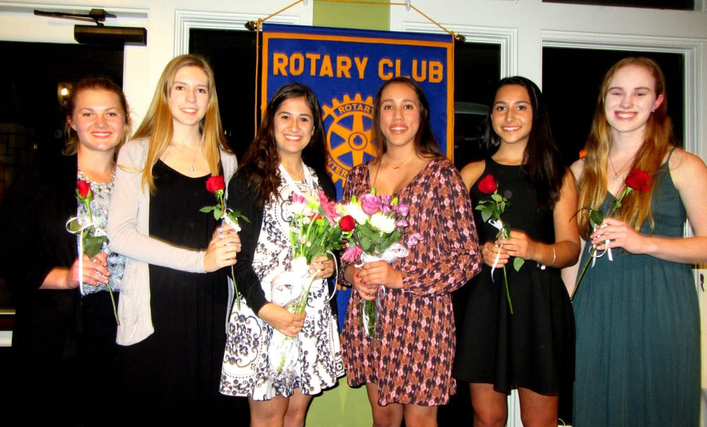Goleta Teen of the Year finalists, from left, Susanna Sinclair and Amanda Hagen of Dos Pueblos High School, winner Layla Landeros of San Marcos High, runner-up Cindy Diaz of Dos Pueblos High, Gabriela Goldberg of San Marcos High and Seneca Bohley of Dos Pueblos High.