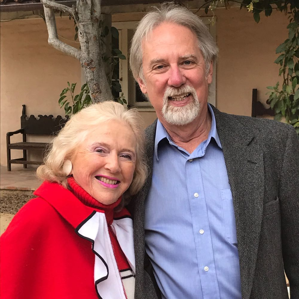 Beverley Jackson, Santa Barbara society doyenne and co-founder of the Costume Council at the Santa Barbara Historical Museum, with historian Neal Graffy.