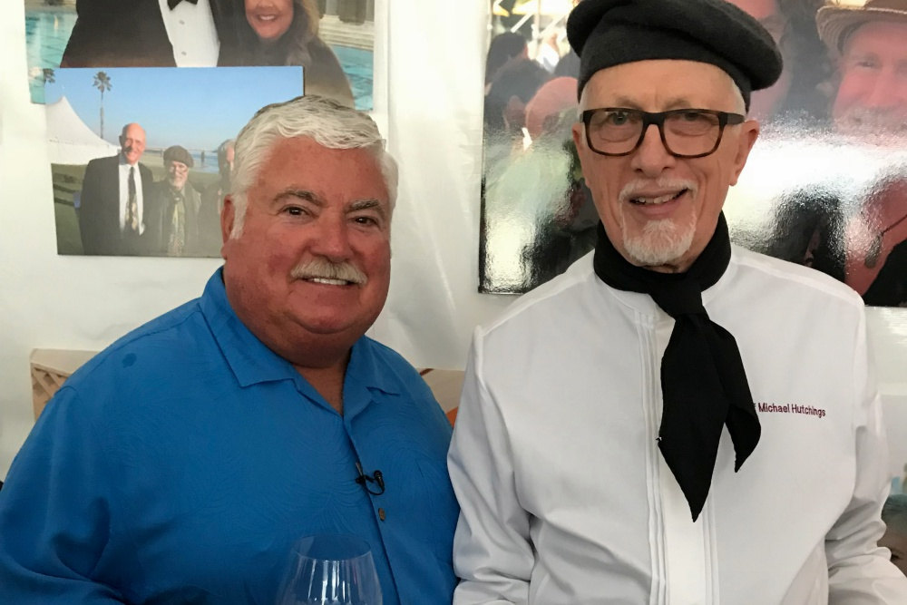 Craig Case, left, and Chef Michael Hutchings at the recent celebration of life for the late Archie McLaren, the founder and champion of the 32-year Central Coast Wine Classic who died last month at 75.