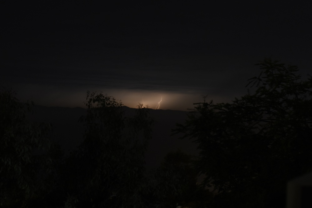 Lightning flashes over the Santa Barbara Channel in a view from Summerland late Sunday.