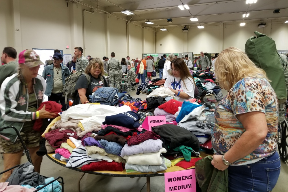 Veterans sift through clothing at the sixth annual Santa Barbara County Stand Down on Saturday at the Santa Maria Fairpark. More than 500 veterans participated in the event, which provides them with free goods and services.