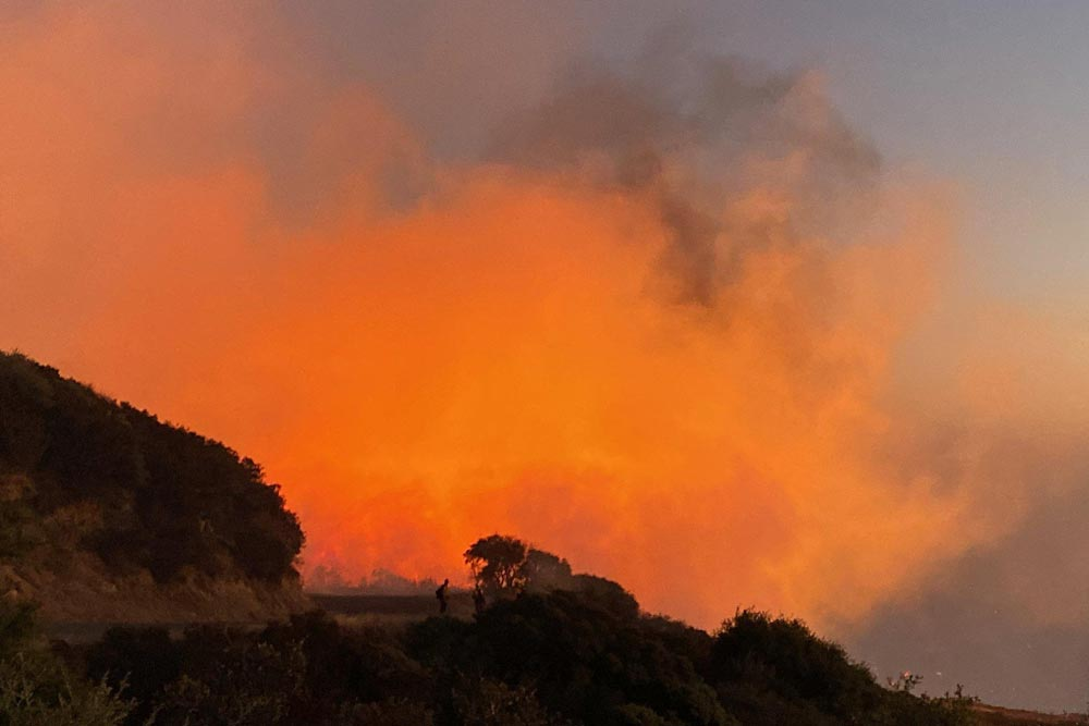 Cave Fire Breaks Out Near Santa Barbara, Prompting Evacuations and Threatening Homes