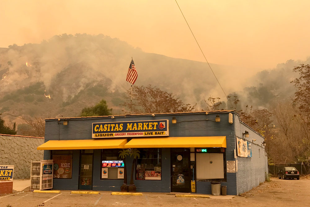 The Thomas Fire burned near Casitas Springs Tuesday, causing evacuations.