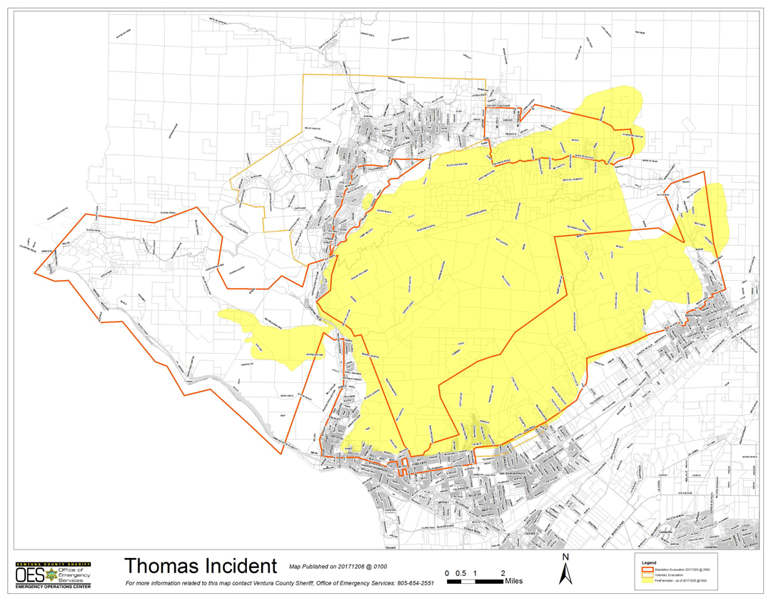 A Thomas Fire incident map released early Wednesday shows the fire perimeter in yellow, the evacuation areas bordered in red, and voluntary evacuation areas in spotted orange.