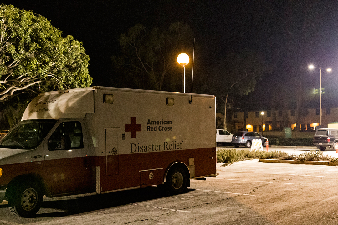 The Red Cross's emergency response vehicle park near the evacuation shelter at UCSB.