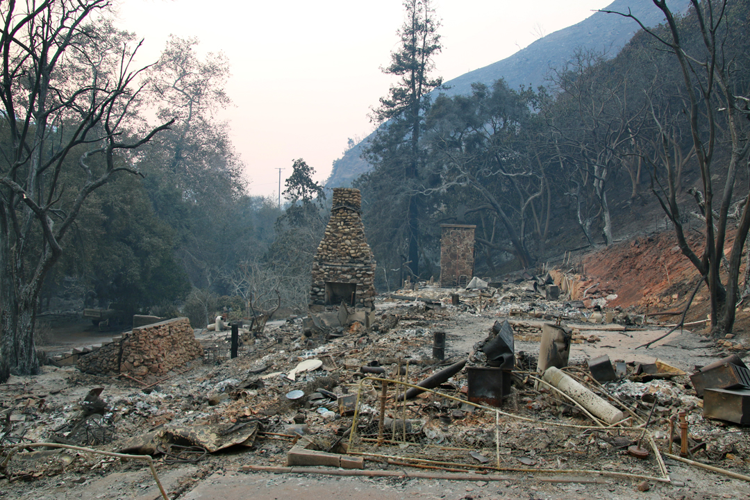 The Thomas Fire destroys a home on Stanley Park Drive north of Highway 150.