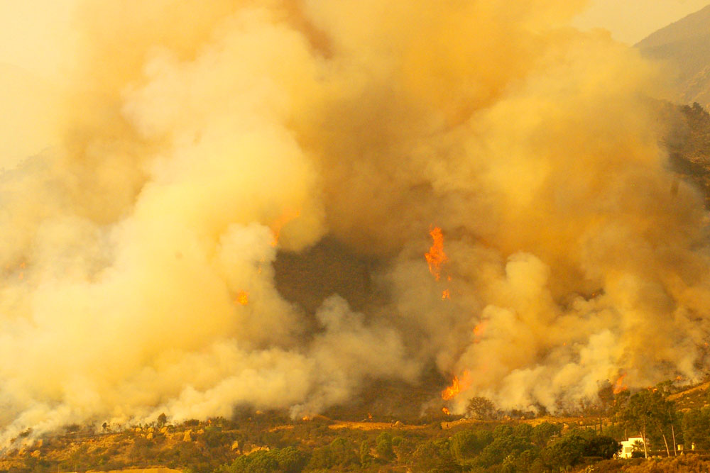 Large columns of smoke were visible in the Toro Canyon area Wednesday afternoon as crews conducted firing operations on areas of unburned vegetation.