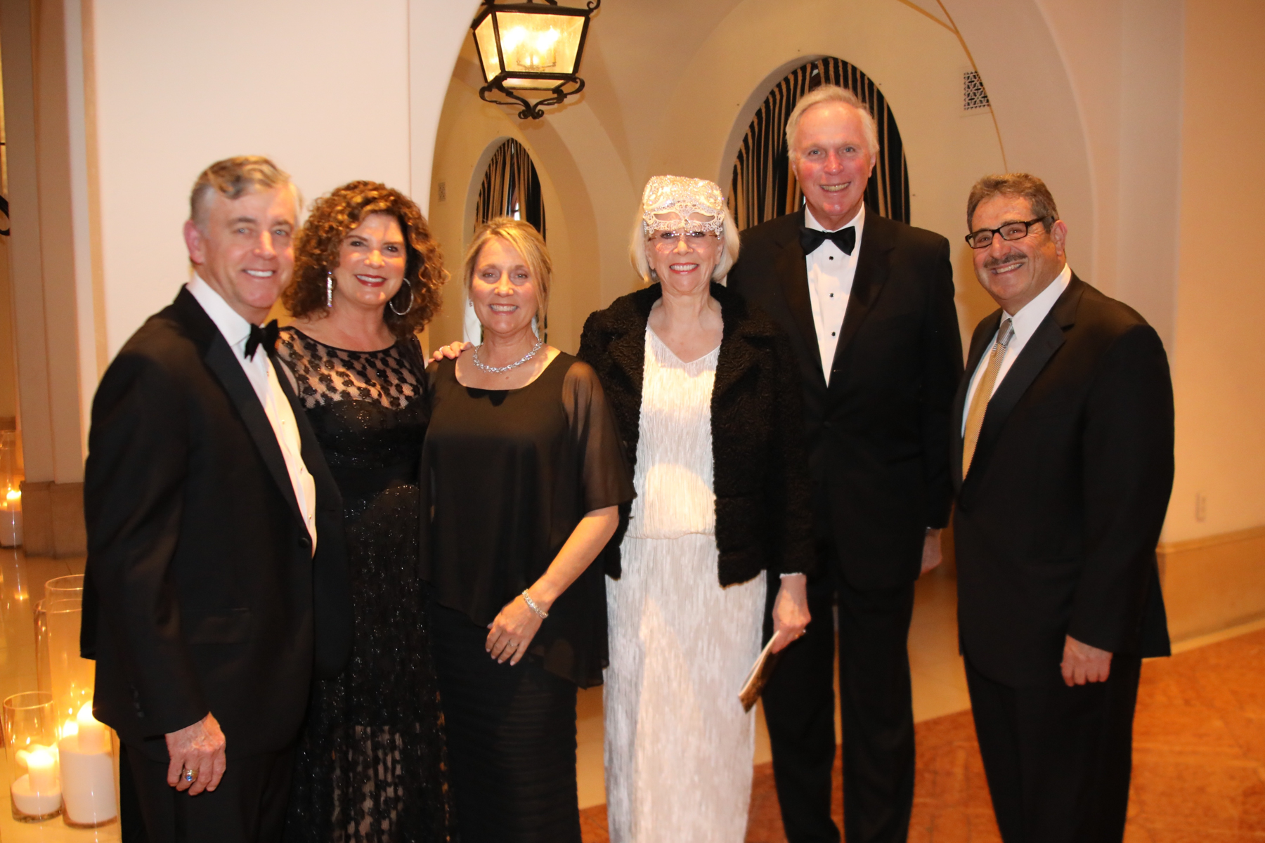 From left to right, former Cottage Health board member Marshall Chip Turner, Tiara Ball Committee member Betsy Turner and Lisa Iscovich, Tiara Ball Committee Chair Alexandra Nourse, Cottage Health board member Robert  Nourse, former board member Angel Iscovich, MD.