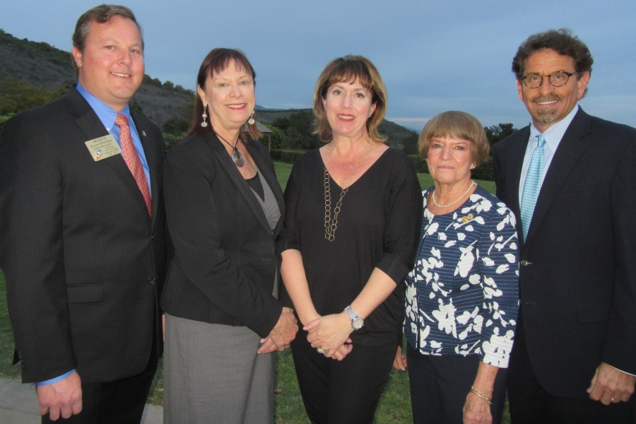 Among the Goleta Teen of the Year judges were, from left, Scott Phillips, Rotary Club of Goleta Noontime president; Mayor Paula Perotte; Michelle Apodaca of Deckers Brands; Teen of the Year program chairwoman Connie Burns; and Noozhawk publisher Bill Macfadyen.