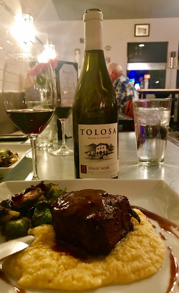 Melt-in-your-mouth filet mignon with cheesy polenta pair perfectly with a 2014 Tolosa Pinot Noir.