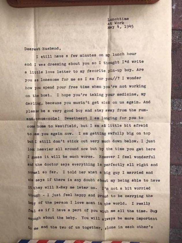 Virginia Christoffersen typed her letter to her husband, most likely while on a lunch break at her job as an advertising copywriter in New York City.
