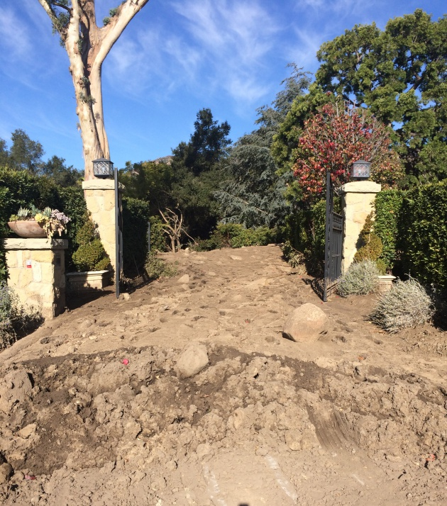 Several feet of mud flowed through the gates of the McGinity family's home in Montecito's Riven Rock neighborhood after the Jan. 9 flash flood.