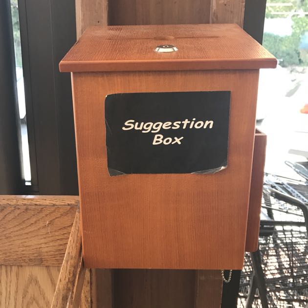 "A suggestion box at the front of the store invites feedback from what the author calls the ""Montecito welcoming committee."""