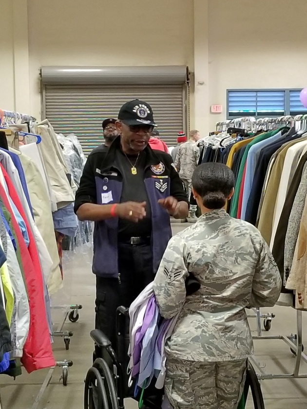 "Vietnam veteran Fabian Brown of Nipomo looks for a warm winter coat at the Santa Barbara County Stand Down. ""This is a beautiful thing for all the sponsors and active duty to come together,"" he says of the Stand Down."