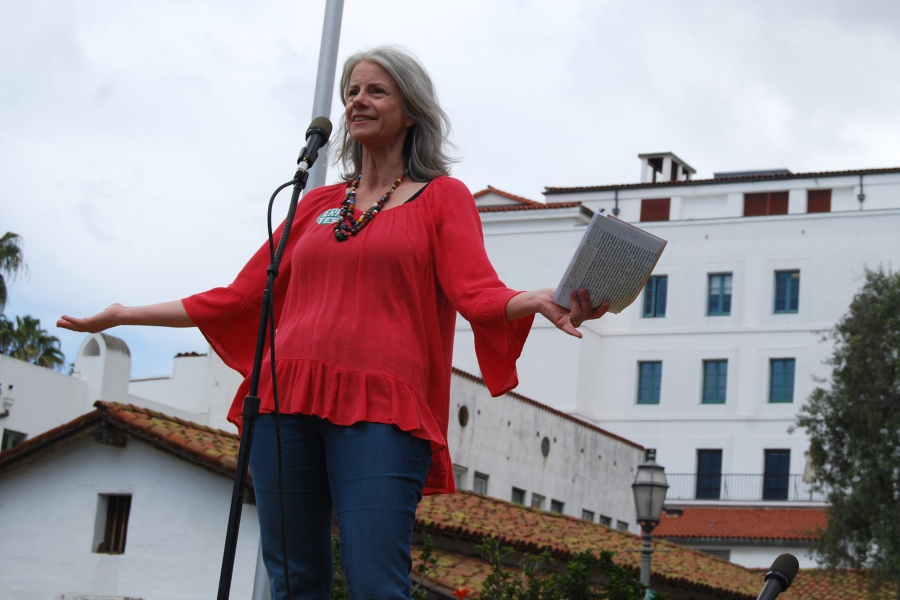 "Catherine Swysen is president of the Santa Barbara Women's Political Committee, the organizer of Sunday's Equal Rights Amendment march that began with a rally at De la Guerra Plaza. ""We must stand together and speak out for equality for all so that we do not go backward but instead, even in these challenging times, move forward to create an inclusive society,"" she says."