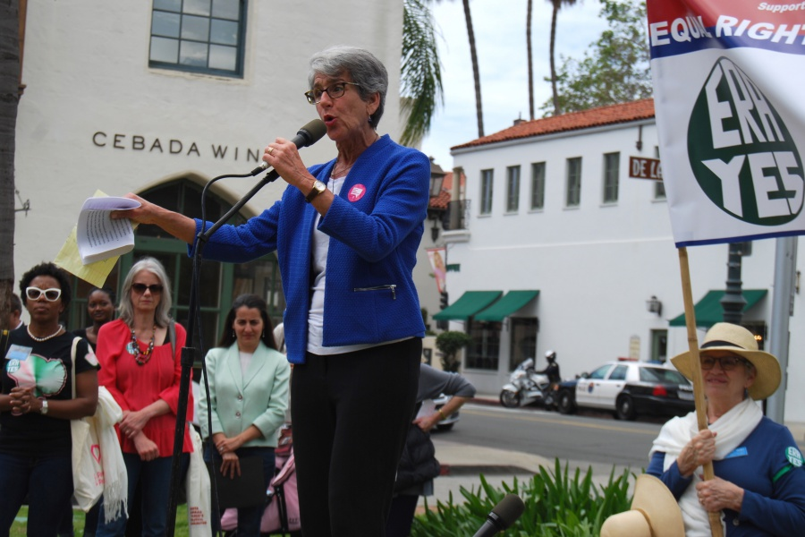 "State Sen. Hannah-Beth Jackson, D-Santa Barbara, was among the local elected officials and dignitaries who spoke at Sunday's rally for the Equal Rights Amendment. ""We have had enough,"" she says. ""The Equal Rights Amendment is long overdue."""