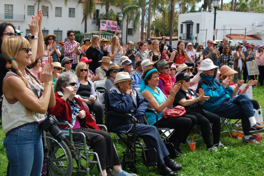 More than 250 supporters of the Equal Rights Amendment rallied at Santa Barbara's De la Guerra Plaza on Sunday.