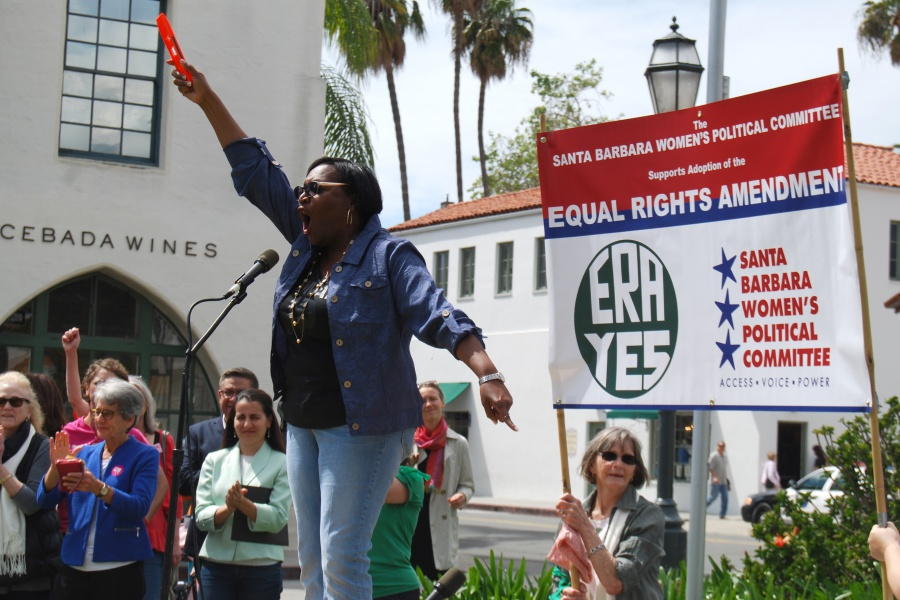 "Santa Barbara Unified School District trustee Wendy Sims-Moten uses a construction level measuring tool as a symbol of equality. ""Equality should be simple but obviously it's not,"" she says."
