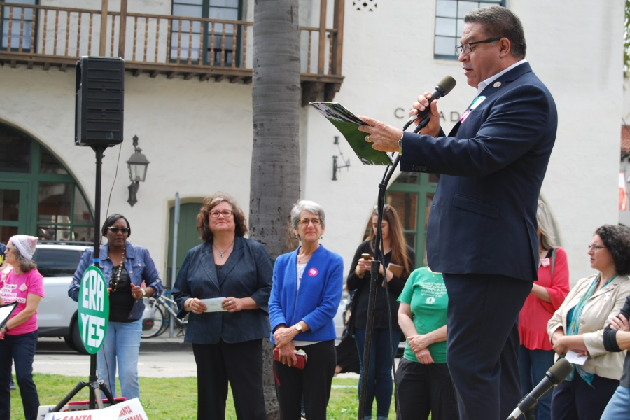 "Rep. Salud Carbajal, D-Santa Barbara, told the crowd he is a ""proud co-sponsor"" of the ERA, and said the government ""shamefully refuses to recognize"" equal rights treatment under the law."