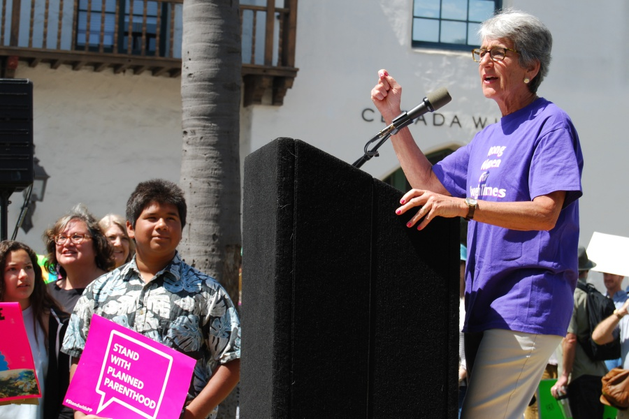 State Sen. Hannah-Beth Jackson, D-Santa Barbara, was among the elected officials on hand to support the cause.