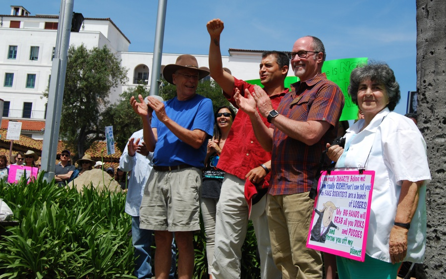 From left, Santa Barbara Councilman Bendy White, Santa Barbara County First District Supervisor Das Williams and Santa Barbara Councilman Gregg Hart were among the elected officials participating in the March for Science.