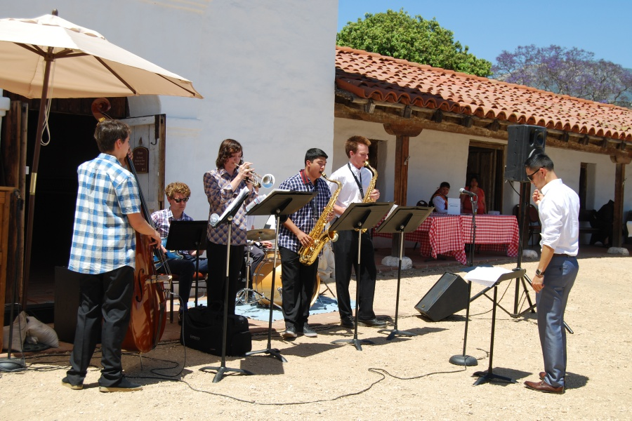 The San Marcos High School jazz band was among the groups performing Saturday at Santa Barbara's Founding Day Festival.