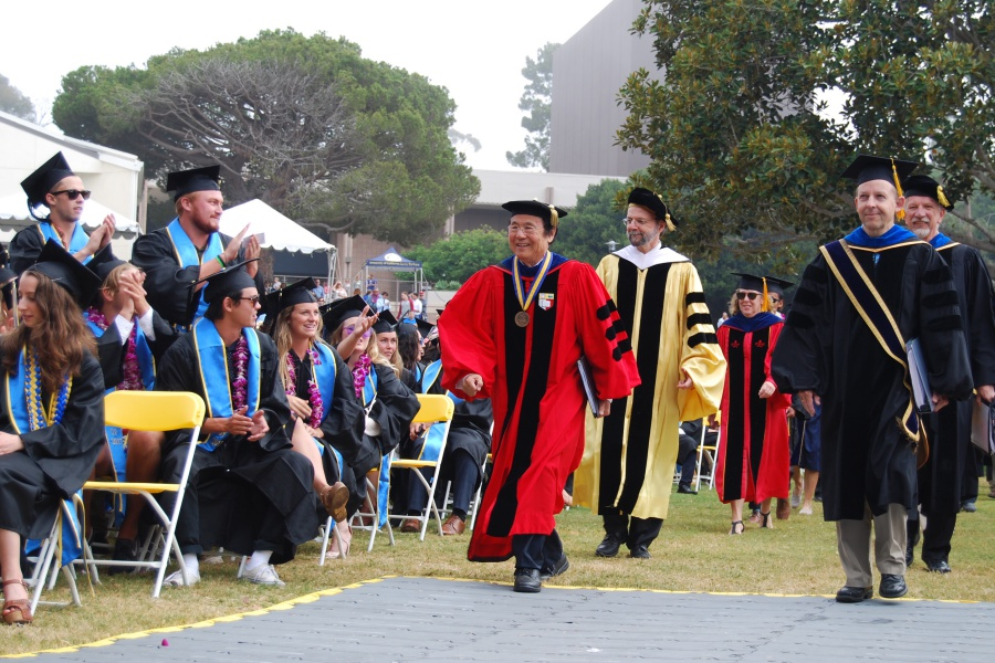 "UC Santa Barbara Chancellor Henry Yang presided over Saturday's commencement. ""My wife and I have enjoyed being your neighbors on campus,"" he told the students. ""This campus is a place of rich intellectual vitality, as well as spectacular natural beauty."""