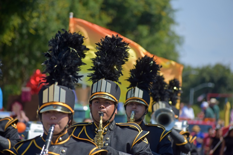 The Cabrillo HIgh School Marching Band performs in the Lompoc Valley Flower Festival Parade on Saturday.