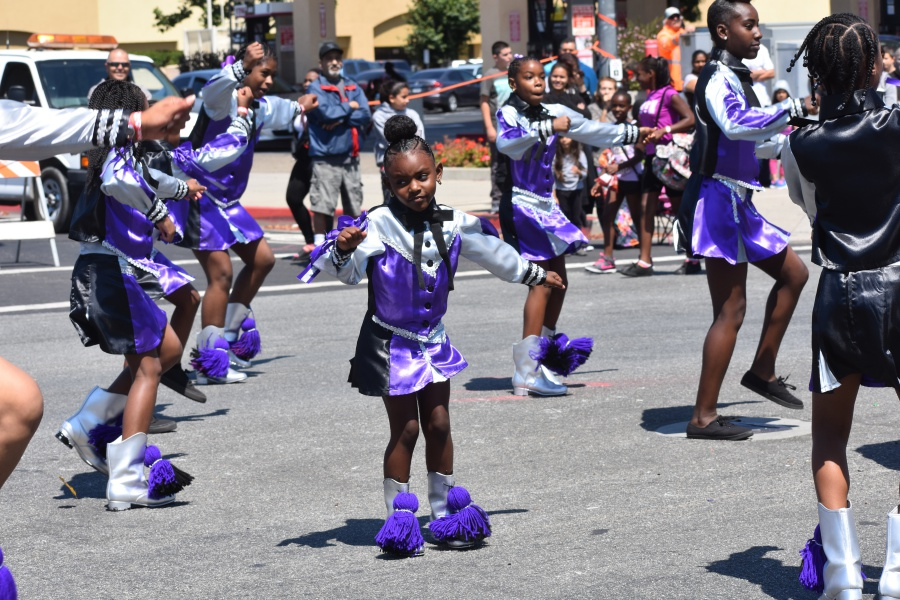 The Royalty High School Steppers Drill Team and Drum Squad from Lancaster step out along the Lompoc Valley Flower Festival Parade route.