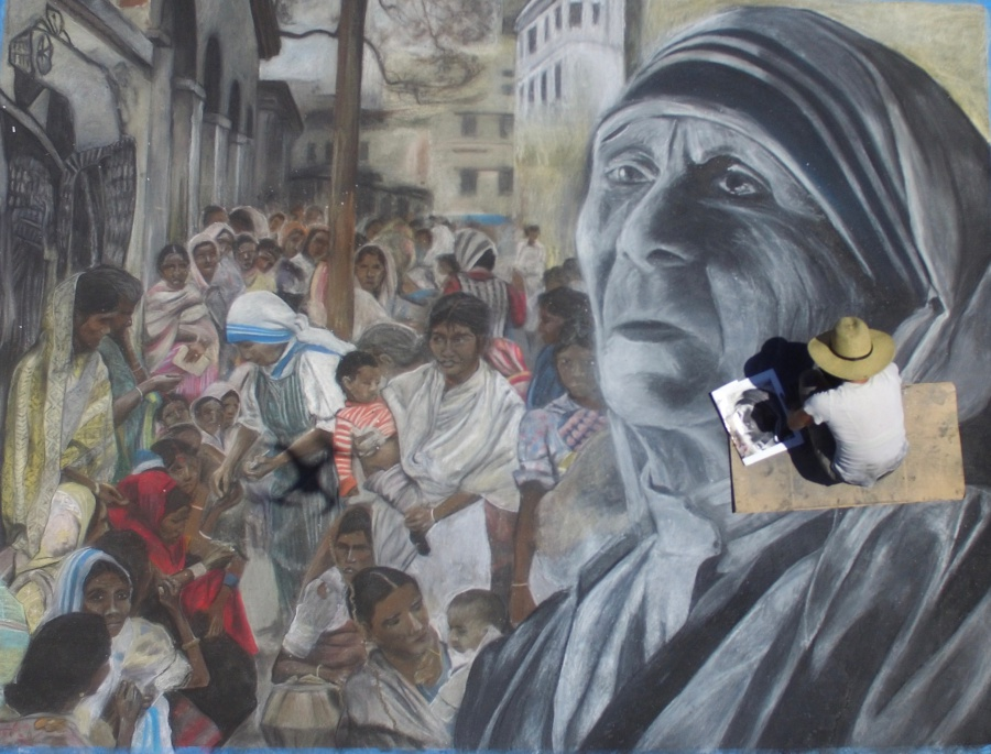A DJI Phantom 3 Standard drone provides a different perspective for featured artist Meredith Morin's depiction of Mother Teresa.