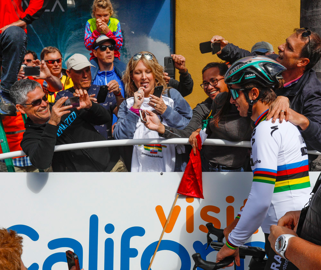 Fans pose with world champion Peter Sagan before the start. Stage 3 of the 12th annual Amgen Tour of California started Tuesday in Pismo Beach looping almost 120 miles through San Luis Obispo and Santa Barbara Counties with a finish in Morro Bay.