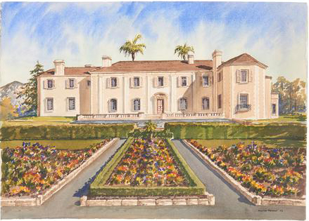 A watercolor picture of Bellosguardo, the Clark estate in Santa Barbara, by Martyn Murphy is one of the items for sale in the Millea Bros. auction.