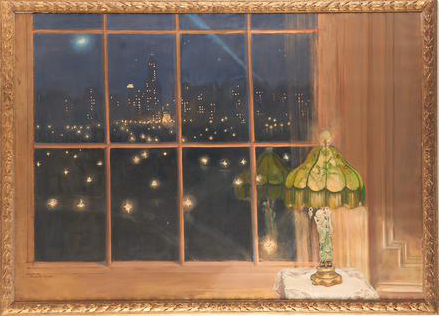 "A signed Huguette Clark painting, ""Scene from my Window at Night,"" is one of the items up for auction."