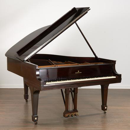 Several musical instruments, including this baby grand Steinway piano, are for sale in the December Millea Bros. auction.