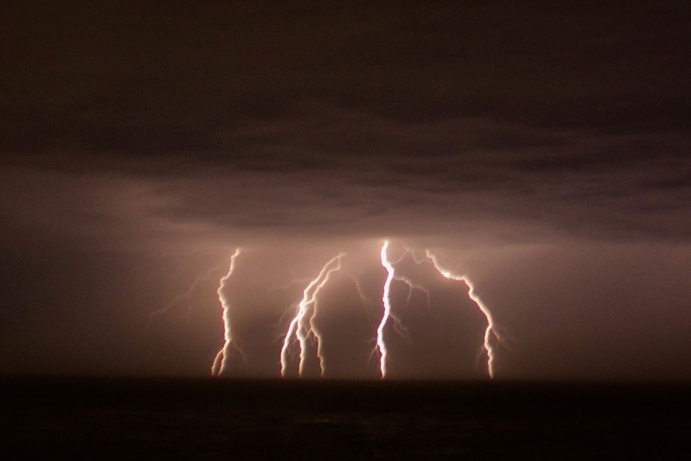 Lightning bolts seen from Goleta.