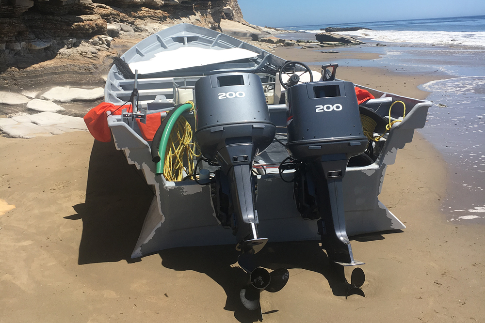 Authorities found a 30-foot panga boat washed up on the Santa Barbara County coast near Refugio State Beach Friday.